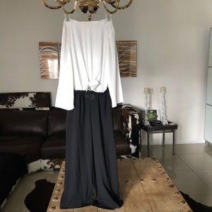 Zara black/ white wide leg chiffon jumpsuit. XS